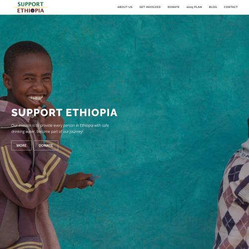 Wide screenshot of Support Ethiopia's website