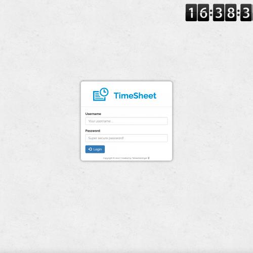 Screenshot of redPuls' TimeSheet website